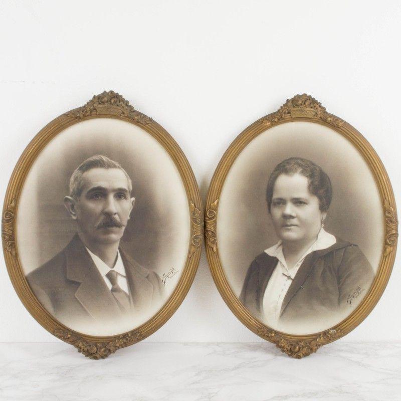 Pareja de retratos en marcos ovalados   Antic&Chic   Antic&Chic shop ...