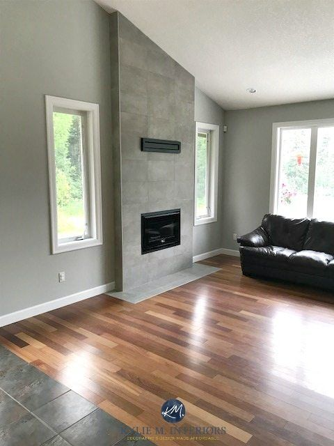 Benjamin Moore Stonington Gray Living Room Wood Flooring Cement Colour Tile Fireplace