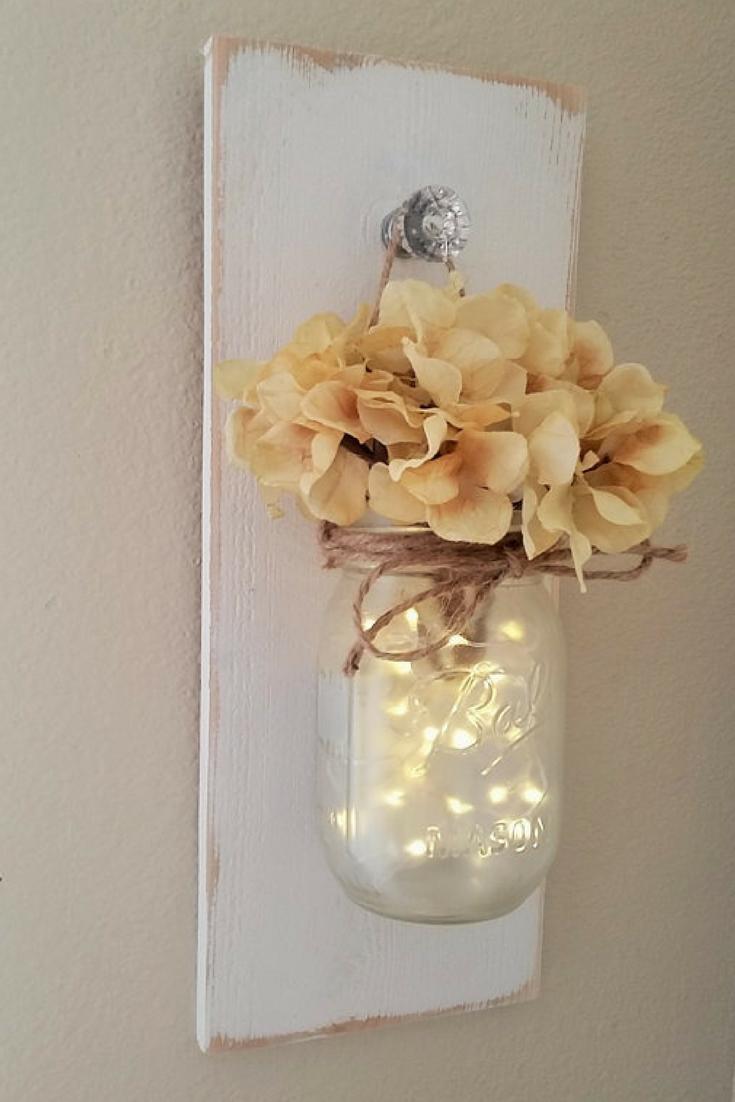 Beautiful And Chic Lighting Flower Walldecor Diyhomedecorgold Mason Jar Diy Mason Jar Sconce Diy Home Decor Projects