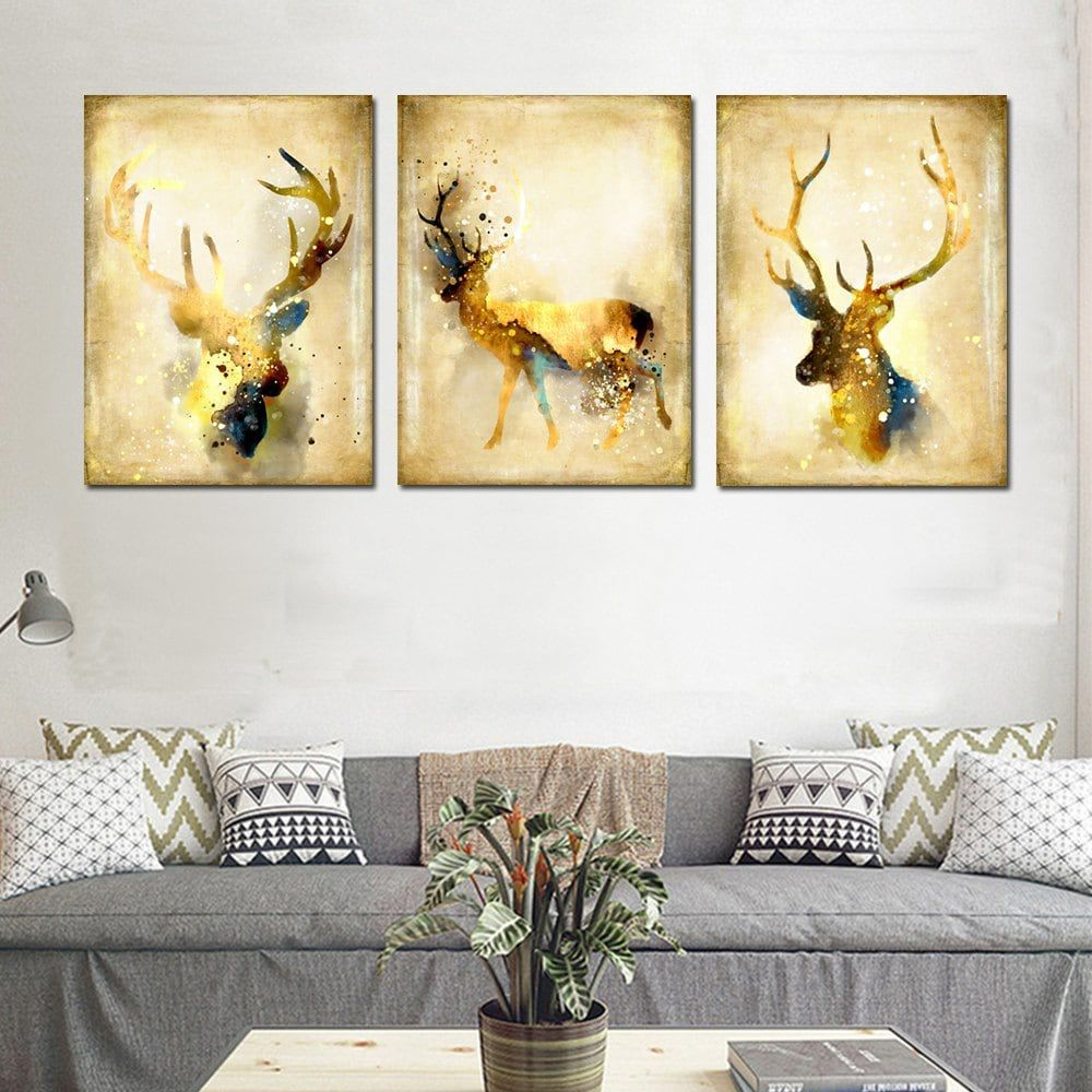 Simple Abstract Animal Wall Art Elk Canvas Painting 3PCS | Abstract ...