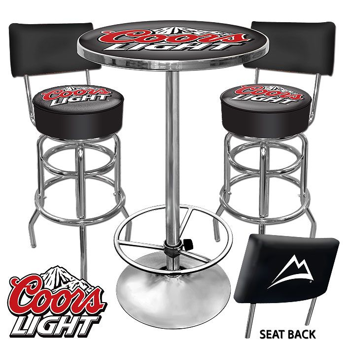 This Coors Light 2 Bar Stools With Backrest And Table