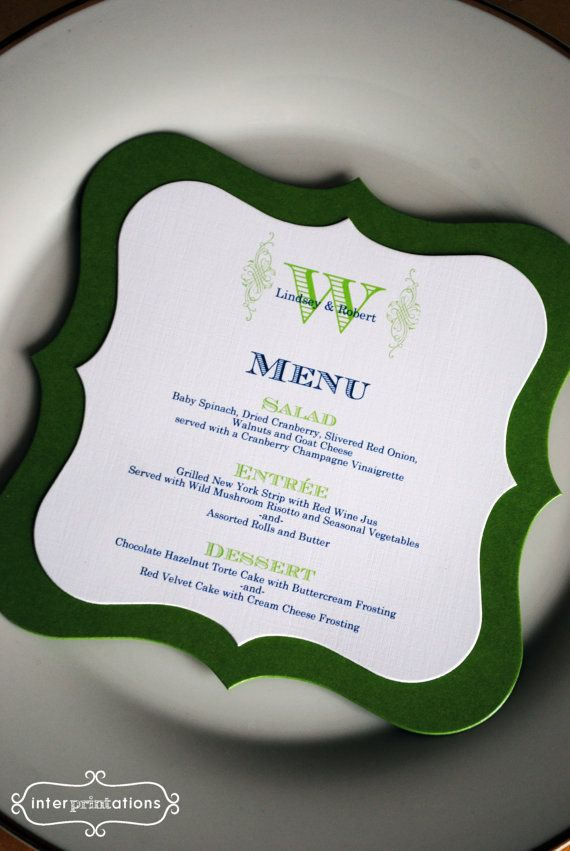 Die Cut Menu Card Ornate Monogram Sample by Interprintations - sample cards