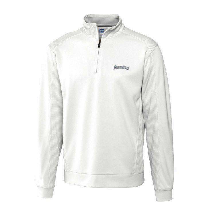 Seattle Mariners Cutter & Buck Half-Zip DryTec Edge Pullover Jacket - Natural - $90.99