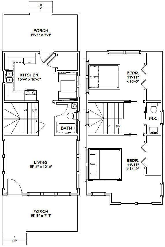 16x30 Tiny House -- #16X30H11 -- 901 sq ft - Excellent Floor Plans ...