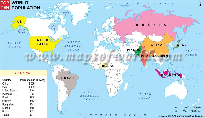 Top 10 most Populated Countries in the World – Map World Population