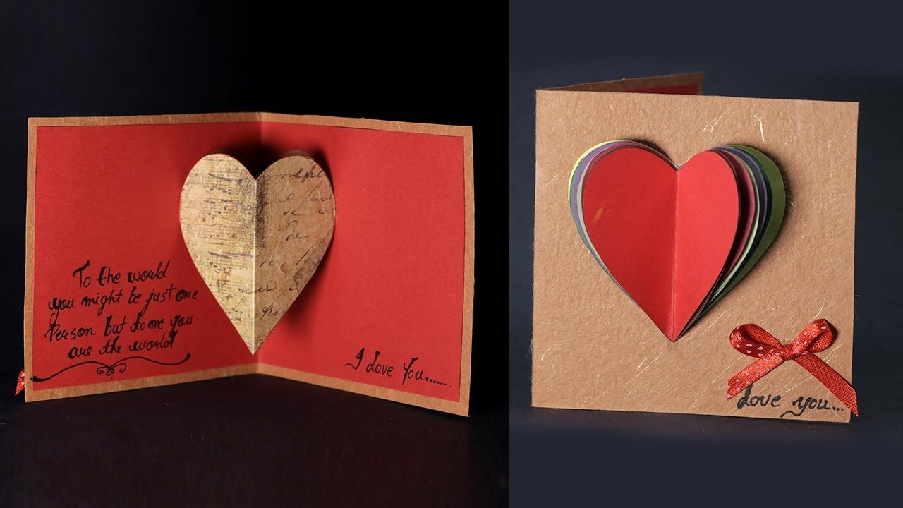Happy Valentine S Day Card Pop Up Heart Card Tutorial With Love Message Happy Valentines Card Valentines Cards Happy Valentines Day Card