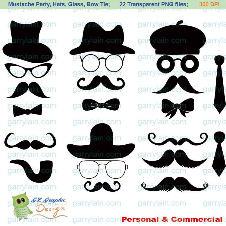 Mustache Clip Art Digital Mustache Clipart Silhouette Hat Glasses Bow Tie Commercial Use Royalty Free Card Scrapbook Clip Art Silhouette Easy Diy Jewelry