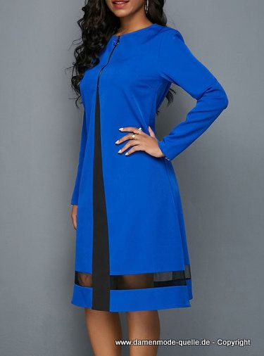 - Kleider 2020 | Langarm Midikleid 2020 Elegant in Blau ...