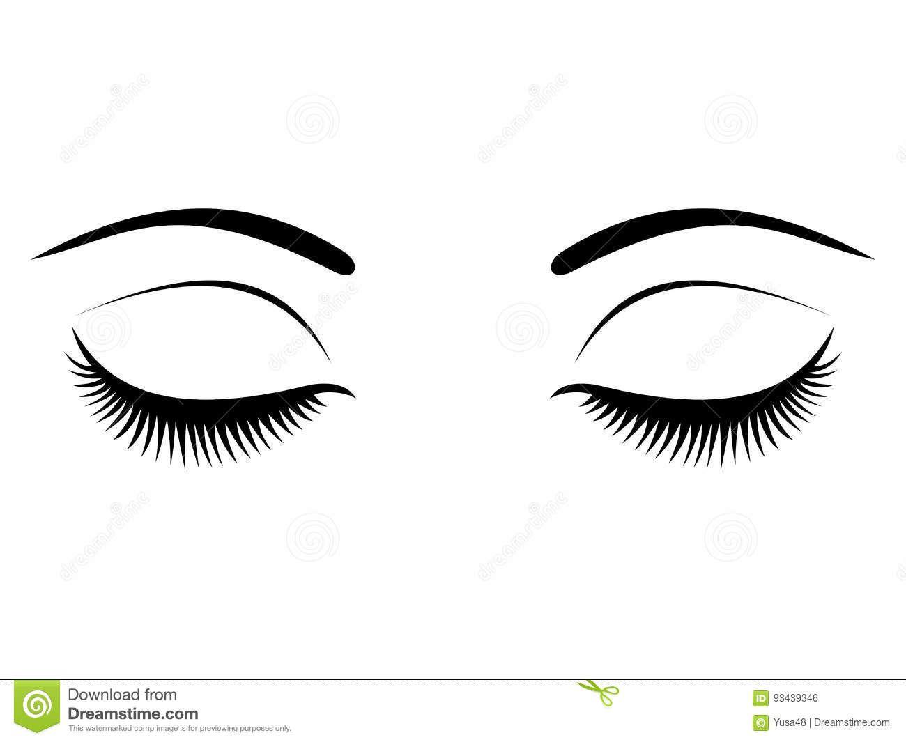 Closed Eyes With Black Eyelashes On A White Background