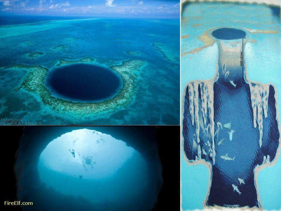 """Un agujero azul es un sumidero submarino, éste en particular conocido como """"Agujero Azul de Dean"""" en las Bahamas, tiene una profundidad de 202 metros y es el más profundo del mundo."""