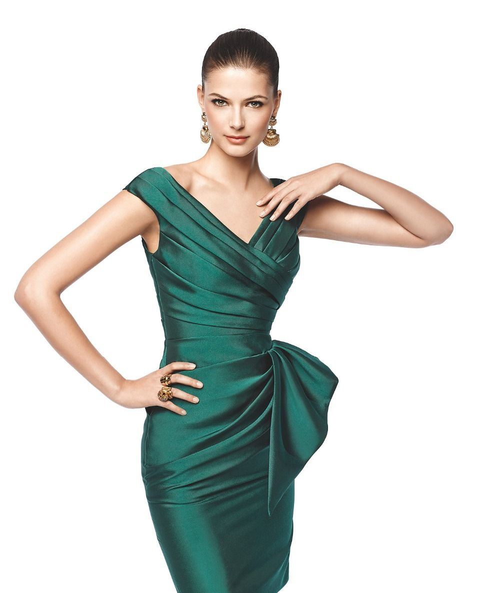 Latest Sheath Designs Ruched Satin V neck Cap Sleeve Emerald Green ...