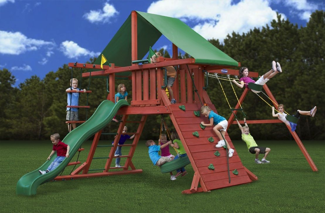 best swing set for a yard with a small slope the angled base of