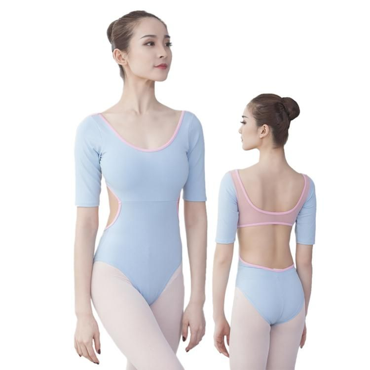 1661fc690997 01B1803--This new ballet leotard offers strechy mesh-matched back ...
