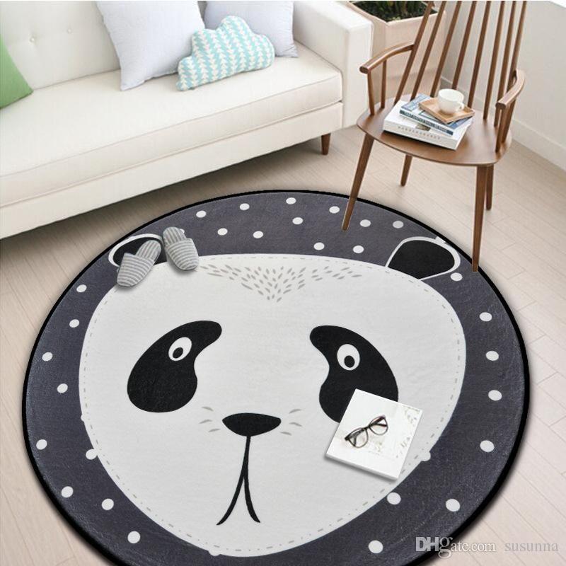 Cartoon Soft Carpet Kids Room Chinese Panda Round Carpets For