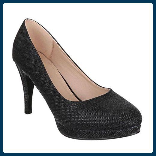 Ital-Design High Heel Damen Schuhe Plateau Pfennig-/Stilettoabsatz High Heels Pumps Schwarz, Gr 38, Rmd2127-