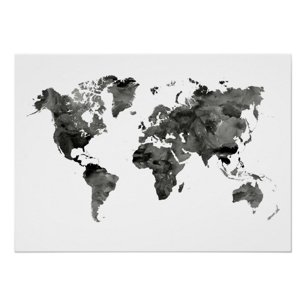 Black and White World Map Poster   Zazzle.com   Products in ...