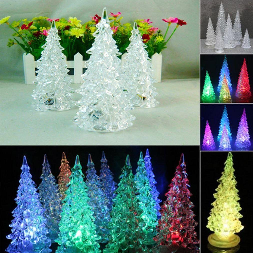 Transer Led Lighted Acrylic Christmas Trees Lamp Holiday Decoration Gift Multicolor Led Christmas Tree Lights Crystal Christmas Tree Diy Felt Christmas Tree