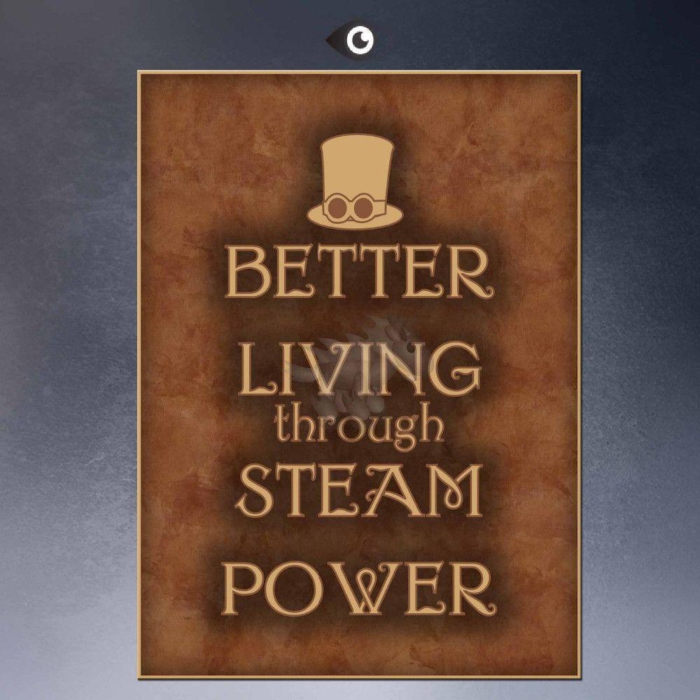 better living through steam power Steampunk Art Print Wall Poster on canvas