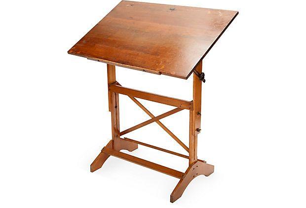 Original Adjustable Light Wood Architectu0027s/artistu0027s Drafting Table In With  Wing Nut Hardware Detail