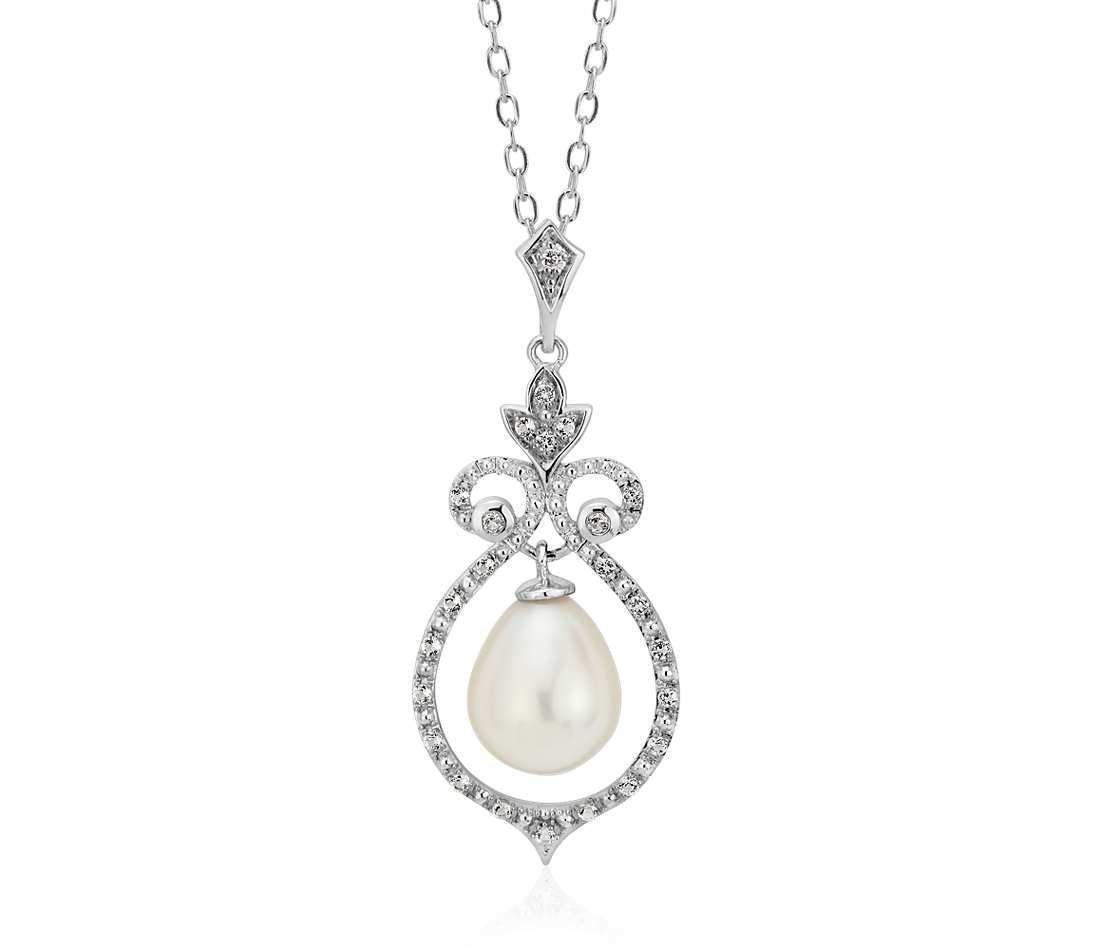 Vintage inspired freshwater cultured pearl and white topaz pendant vintage inspired freshwater cultured pearl and white topaz pendant in sterling silver aloadofball Images