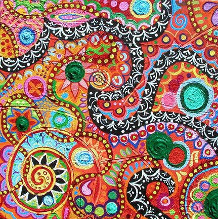 Bright paisley floral design picture and wallpaper homey for Paisley wallpaper