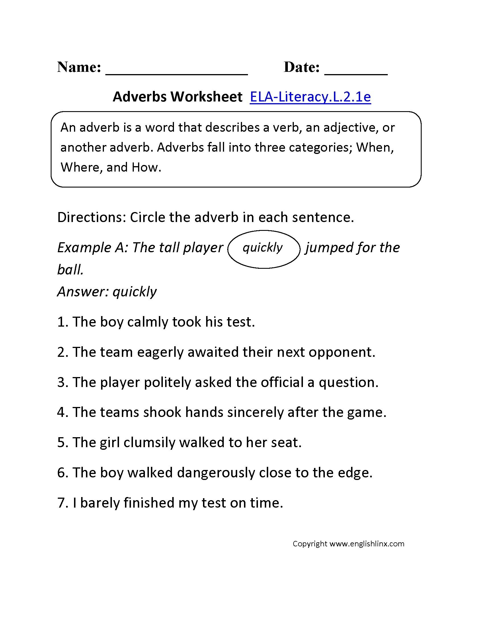 Format 2nd Grade Common Core Language Worksheets