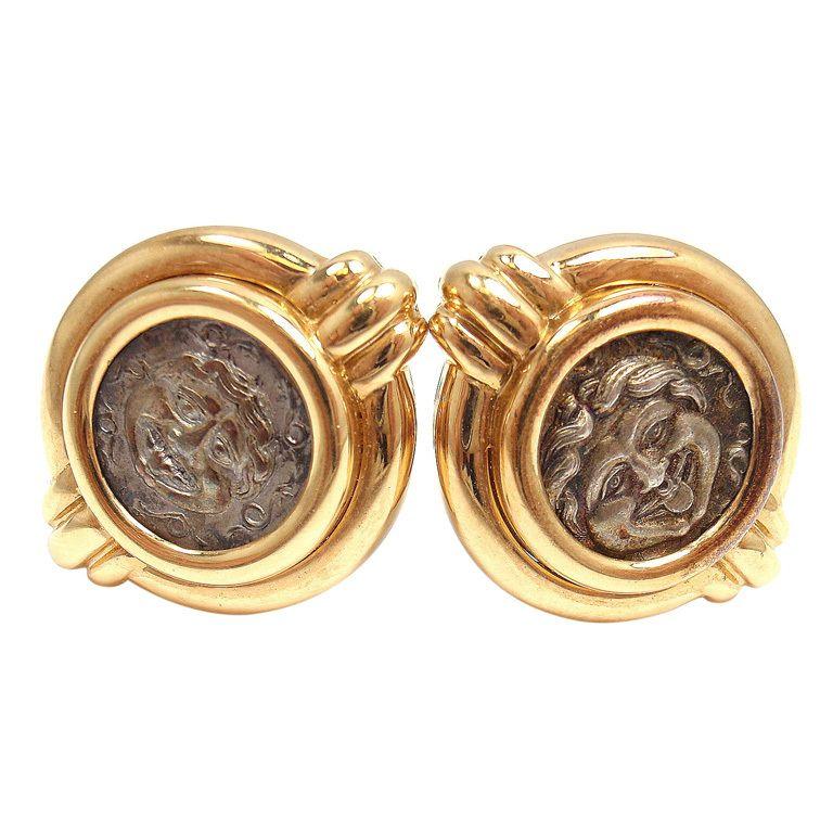 bulgari ancient coin monete antiche yellow gold earrings