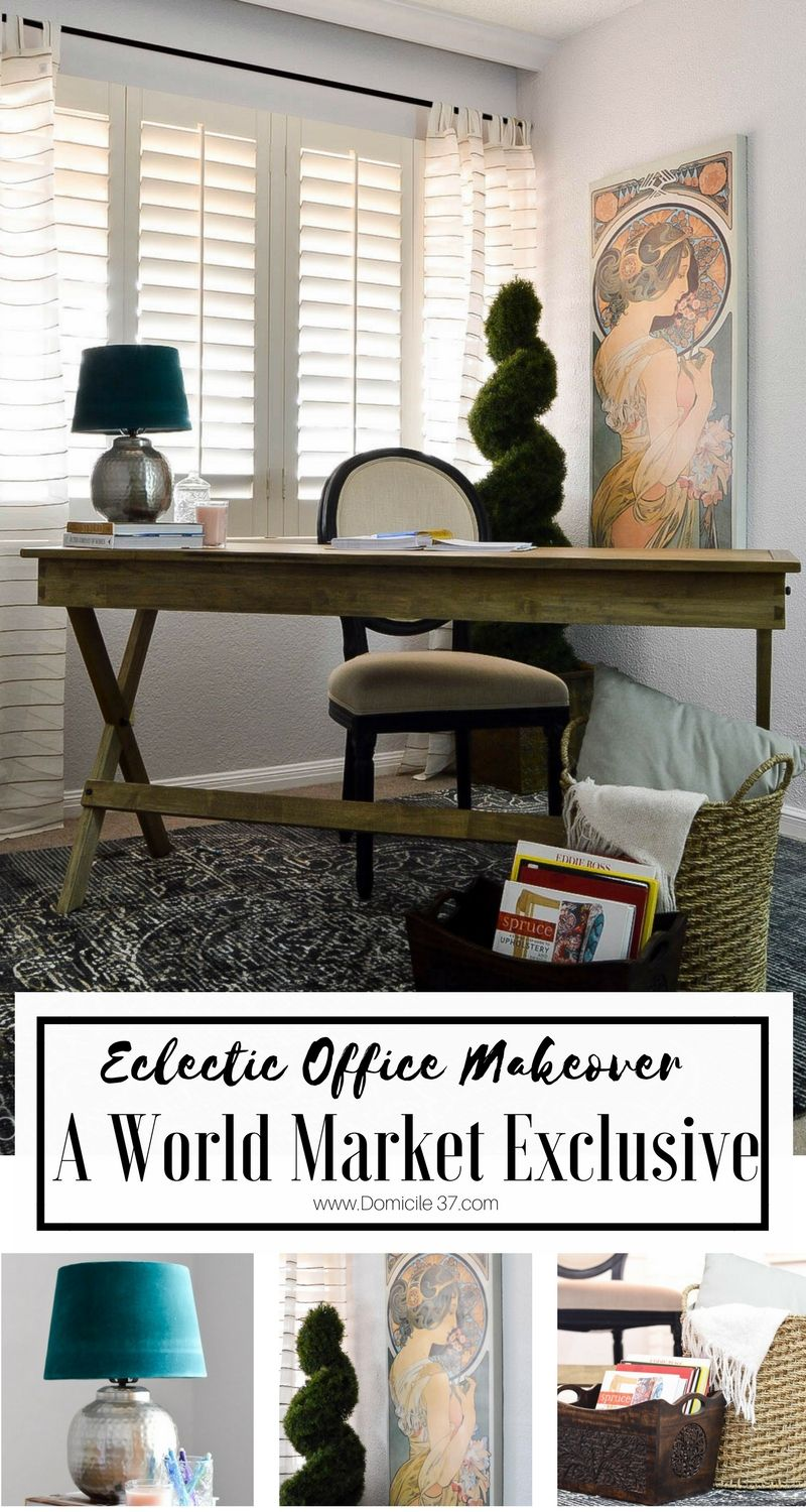 Vintage eclectic office makeover with world market office makeover