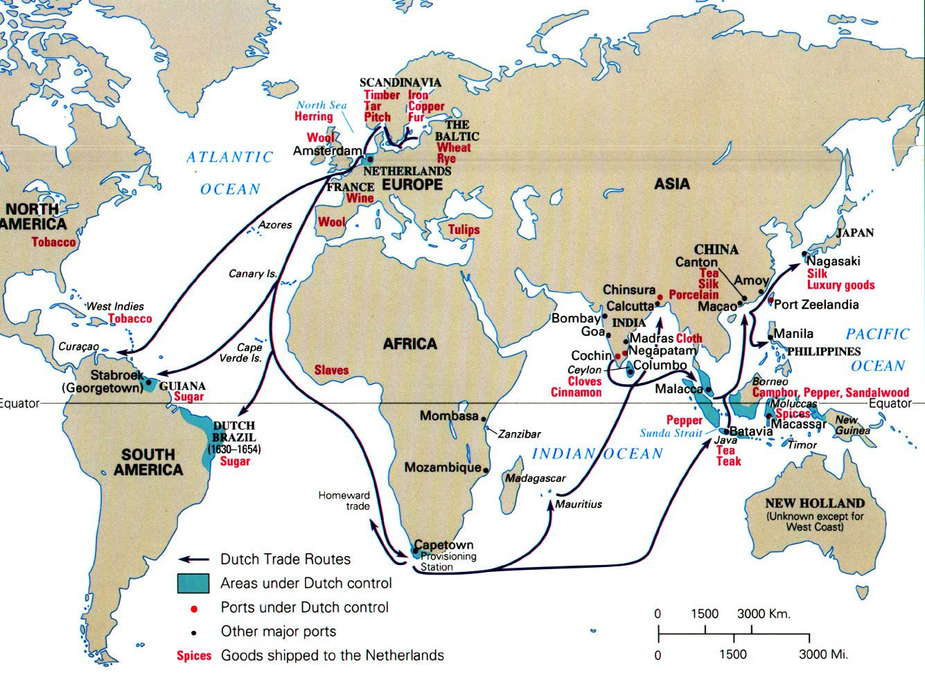 Map Of Dutch Trade Routes Oude Kaarten Geschiedenis Kaarten