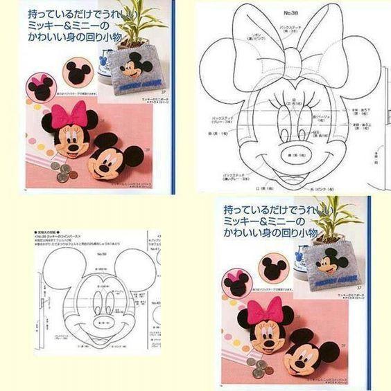 Disney schema Topolino e Minnie feltro pannolenci | Schemi gratis ...