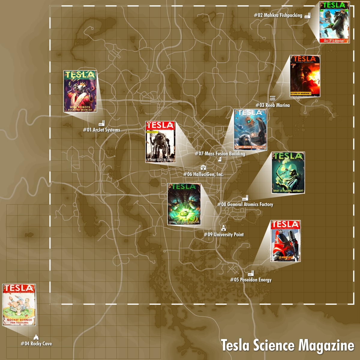 Tesla Science Locations With Images Fallout 4 Magazines Fallout 4 Locations Fallout 4 Map