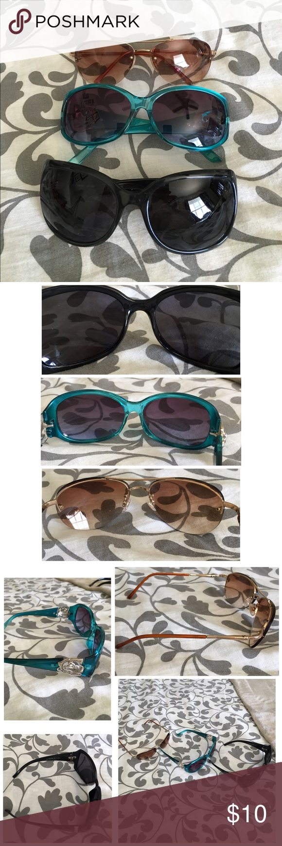 Bundle of 3 sunglasses- all pre-loved. Light scratching on black pair, all gently worn.                                                                GENTLY WORN,could have slight wear/ staining I didn't catch.Please see all pictures.   PLEASE, REASONABLE OFFERS ONLY! - If its $10 or under, I WILL NOT accept offers. -I do not model anything; everything looks different on everyone and I don't wasn't too Jade that. I will put the item on a dress form or find factory pics and provide…