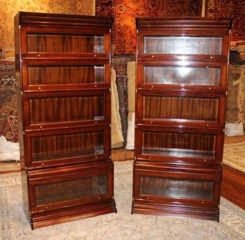 Beautiful Pair Br Bound Sectional Beveled Gl Mahogany Barrister Bookcases In Antiques Furniture Post 1950 Ebay