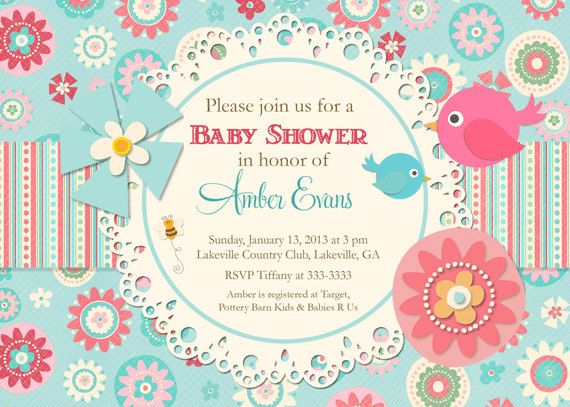 Busy Floral with Birds Teal Pink Baby Shower Invitation