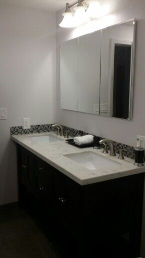 Bathroom Remodel Converted A Single Sink To Double Sinks For Main Kids Bathroom Bathrooms Remodel Double Sink Bathroom