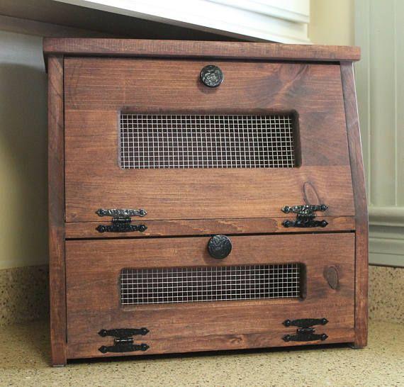Bread Box Rustic Wooden Vegetable Potato Bin Storage Cupboard