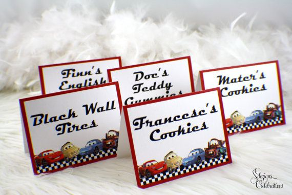 Candy Buffet Signs Cars Theme Lightning McQueen Cars Red - Cars signs and names