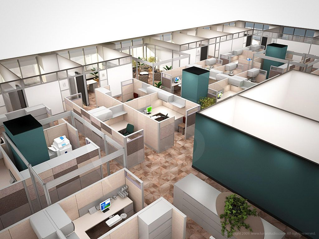 3D visualization of Turner Industries office workspace