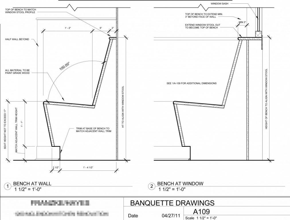 Large image for excellent restaurant banquette dimension for Plan banquette cuisine