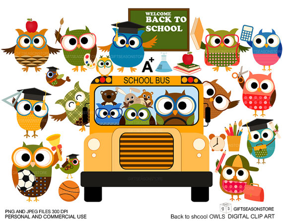 Back to school owl. Clip art for personal