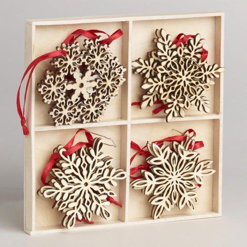 @Kyle Bragger Britt  Wood Laser-Cut Snowflake Ornaments, Set of 12 - v2
