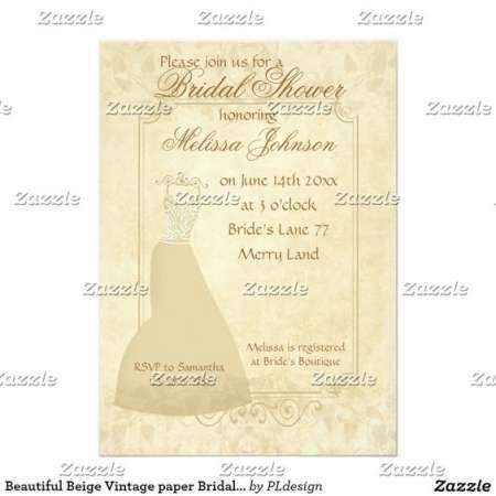 Beautiful Beige Vintage paper Parchment Bridal Shower Invitation by #PLdesign #VintageWedding #BridalShower