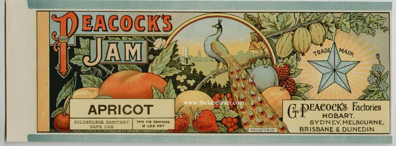 Vintage Jelly Labels | PEACOCK'S Vintage Apricot Jam Can Label ...