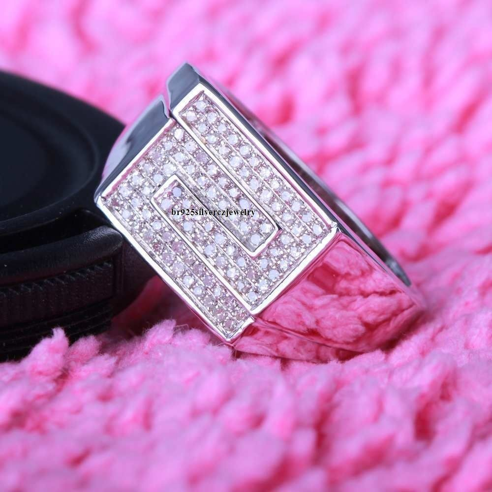 14K White Gold With Round Cut Diamonds Engagement Wedding Men\'s ...
