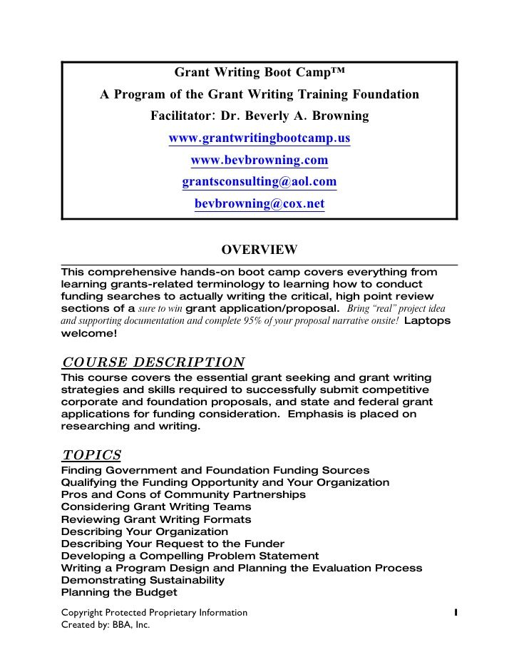 Curriculum Guide For Grant Writing Boot Camp  By Dr Beverly