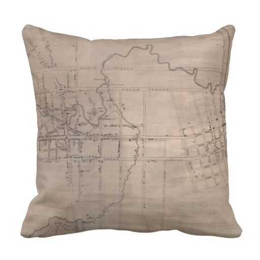 Vintage Map of Fayetteville North Carolina (1822) Throw Pillow