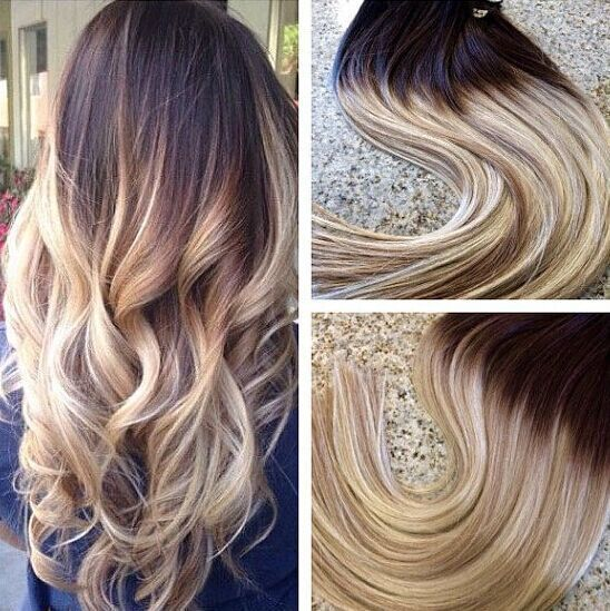 7 Clips 140g Ombre Clip In Hair T 4 613 Blonde Brazilian Human