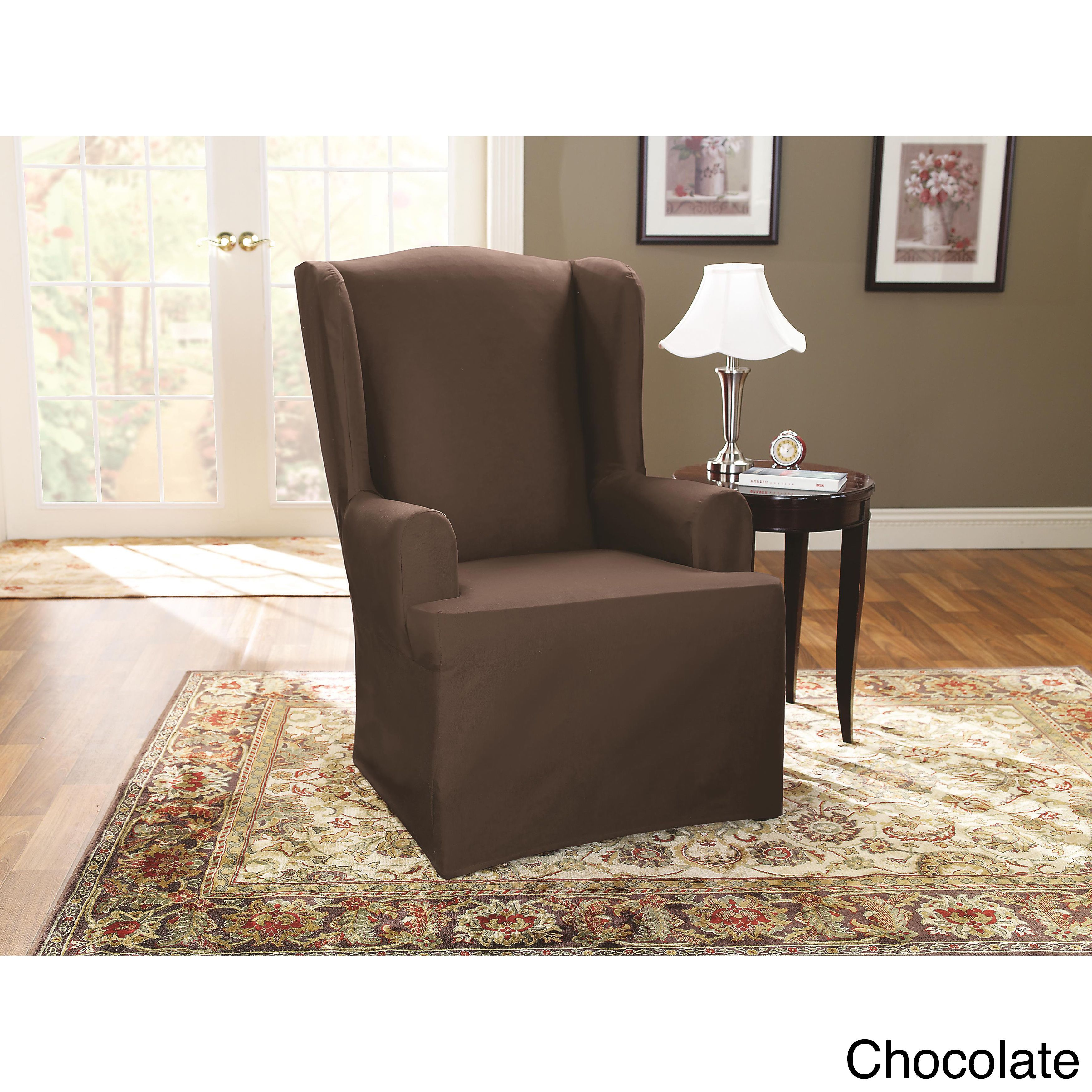 Sure Fit Cotton Duck Wing Chair Slipcover (Brown Stretch