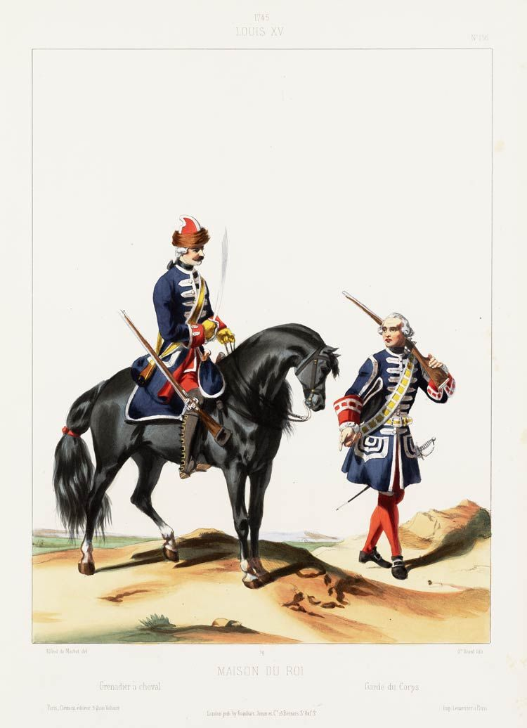 1745 louis xv maison du roi grenadier cheval garde for Ancienne maison des gardes lourmarin france