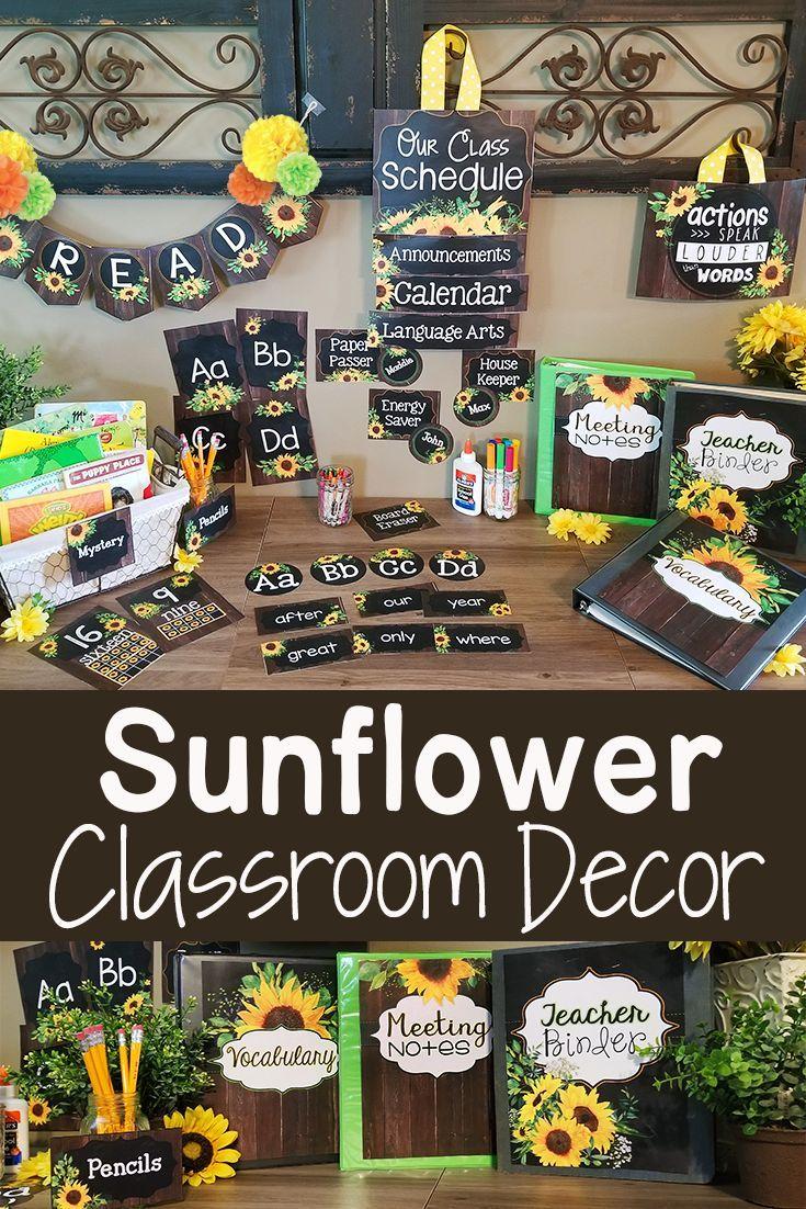 Farmhouse Sunflower Classroom Decor Theme BUNDLE #elementaryclassroomdecor
